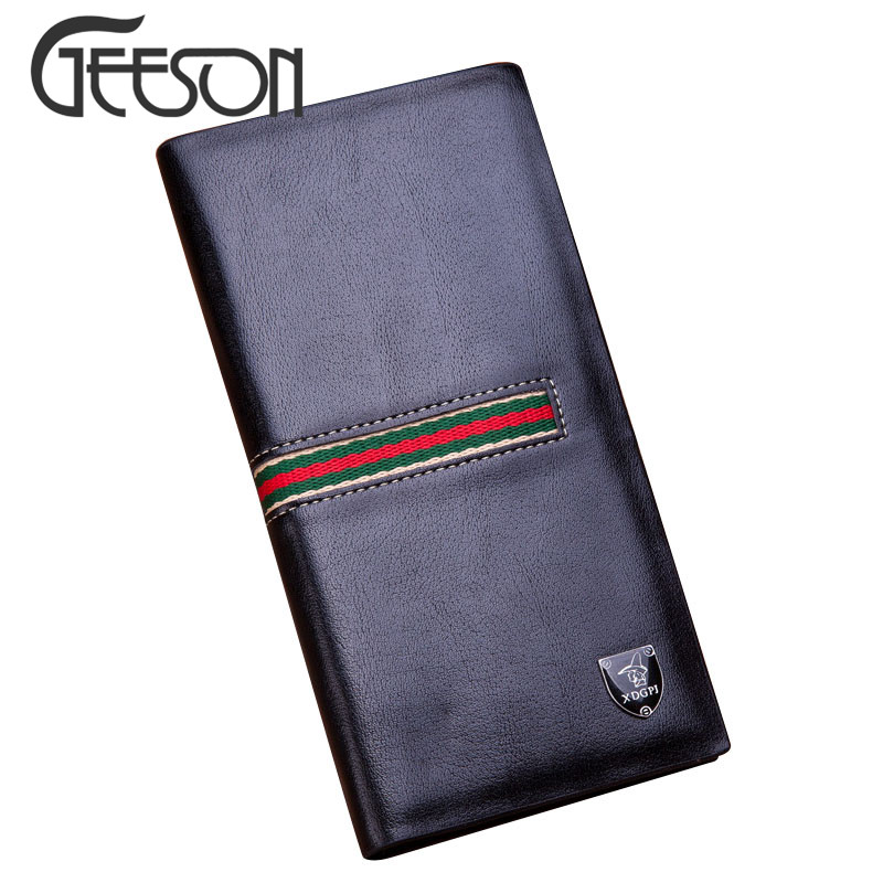 2016 Hot Fashion Patchwork PU Leather Men Long Wallet Red Strip Wallet Clutch Wristlet Bag Dollars Note Purse Brand Famosa KW161(China (Mainland))