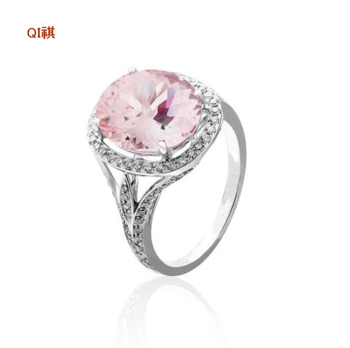 Classic big Pink AAA CZ Diamond Italy 18K White Gold Plated Wedding Ring Vintage Gifts for ladies Rings party bijoux 2016 New(China (Mainland))