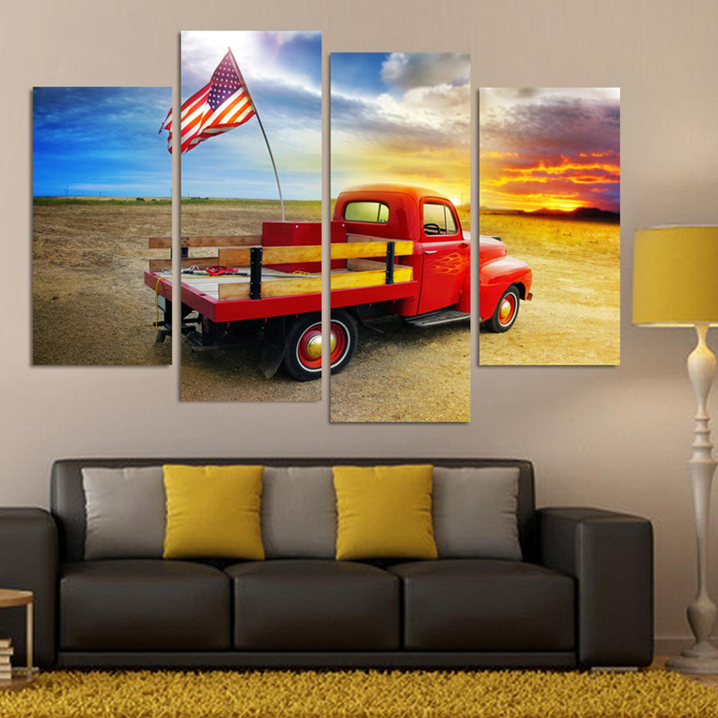 4 Piece American Flag On a Truck Pictures Canvas Prints Home Decoration for Living Room Oil Painting Print Cuadros No Frame(China (Mainland))