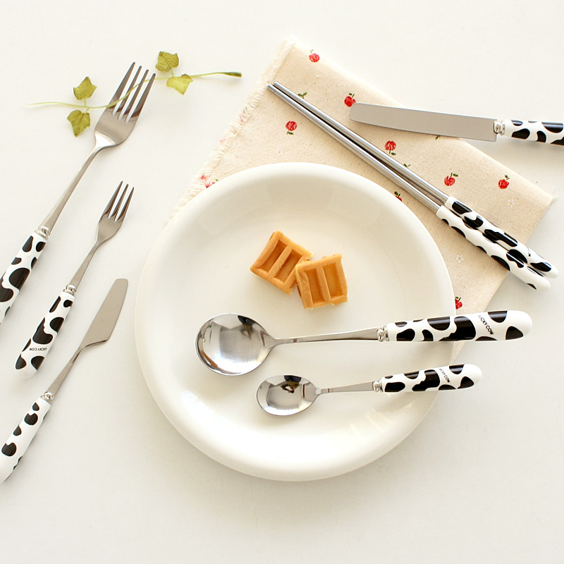 Cow Tableware Stainless Steel Knife Fork Spoon Chopsticks Fashion New Design 2014 7pcsset