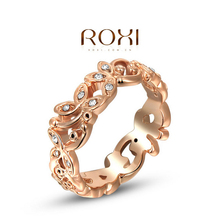 ROXI luxury rings,top quality Bud authentic Austrian crystal rose gold ring high-end jewelry2010242230(China (Mainland))