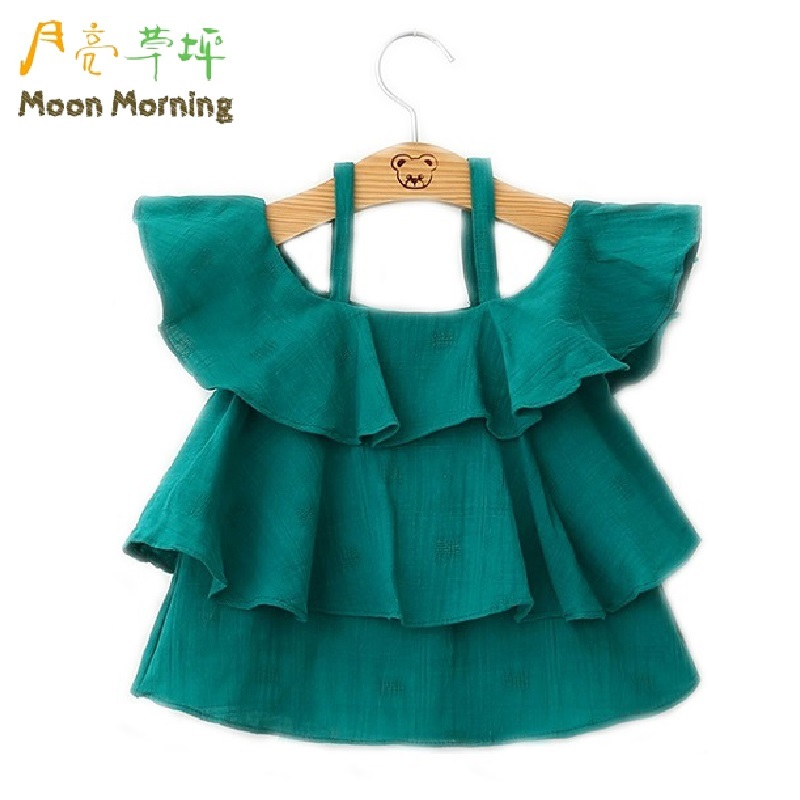 Moon Morning Girls Ruffles Blouse 2T~8T Sleeveless Solid Fashion Shirts Summer Styling Meisjes Veste Cotton Descendent Clothes