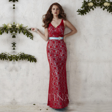 Robe de Soiree Sexy Prom Dress Long Evening Gowns Elegant Red Lace Mermaid Evening Dress 2016 Formal Dresses Abendkleider(China (Mainland))