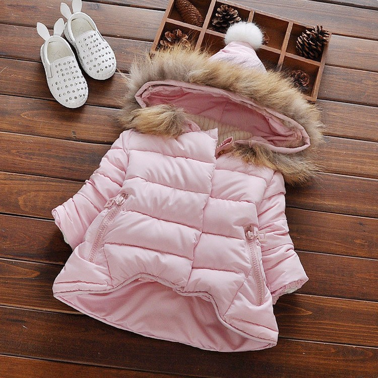 Winter Girls Parka Spandex Real Fur Thickening Hoods Natural Jacket Warm 2T Snowsuit Design New Brand Child Clothes