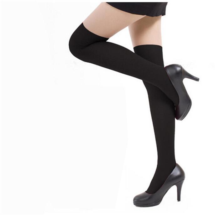 Limited Promotions 2015 Sexy Women Over Knee Socks High Black Temptation Stretch Nylon Sock Long stockings Girls White Wholesale(China (Mainland))