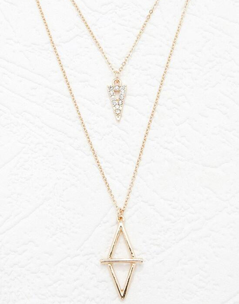 Famous Brand Forever Jewelry 21 Bijoux Two 2 Layer Necklaces Pendants Triangle The Crystal 18 K Gold Plated For Women(China (Mainland))