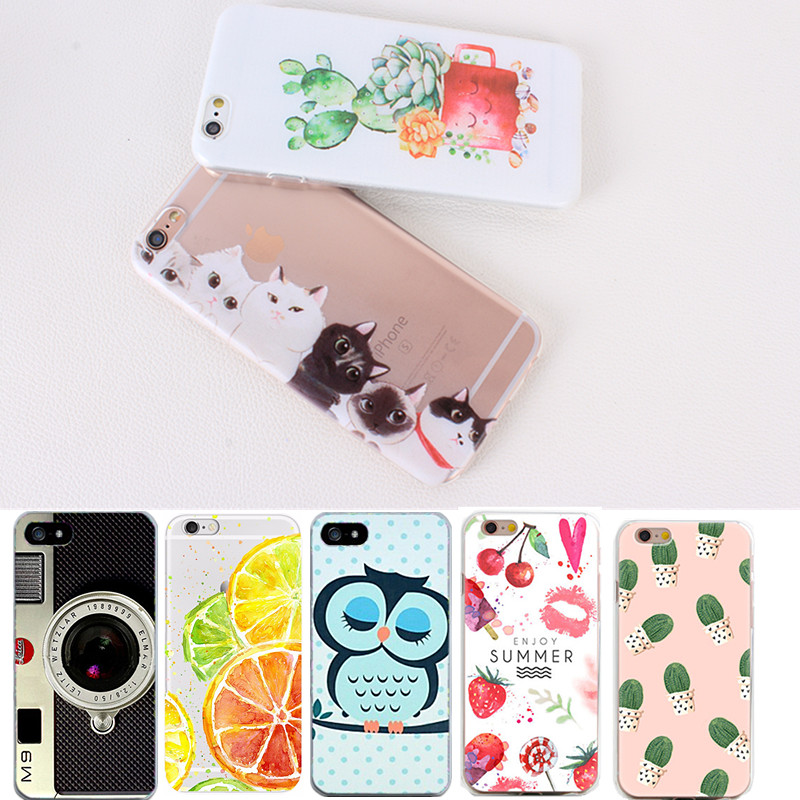 Fashion Cartoon Fundas For iphone 7 iphone 6 6s 5 5s se Soft Case Cover Colorful Strawberry Cactus Owl Phone Case Coque(China (Mainland))