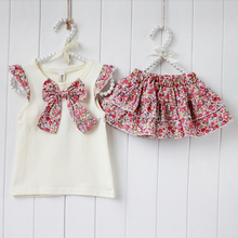 New hot Kids Girls 2PCS Flowers Bow knot Tops Ruffle Culottes Set Outfits Clothes 0 4Y
