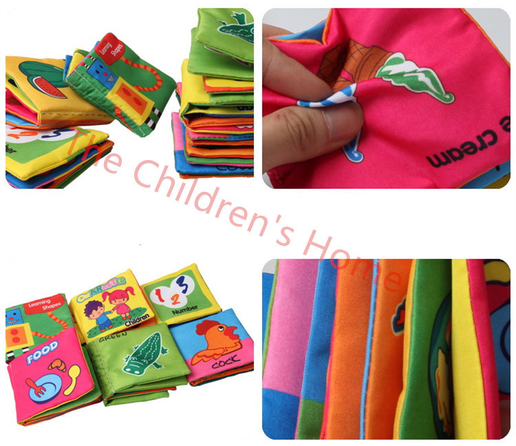 6Style Sounding Multifunctional Colorful Cloth Book 0-12 Months Baby Educational Toy Character Animal Baby Cloth Brinquedos Toys(China (Mainland))