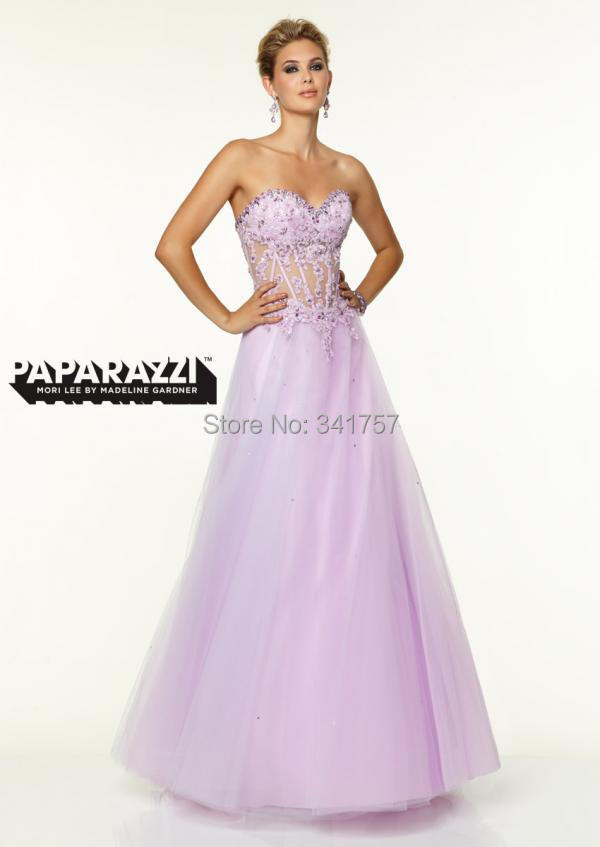 Lavender Evening Dresses See Back 2015 Vestidos Para Festa Ball Gown Top Lace Formal Dress Beading Organza Custom EL914 - Full Romantic Wedding store