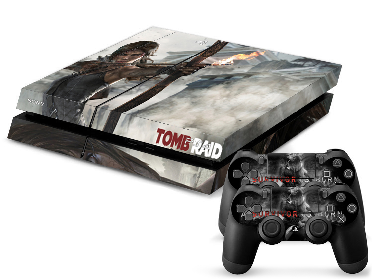 PS4 Sticker Tomb Raid Decal Skin Sticker for Playstation 4 PS4 + 2 Free Controller Covers 1 pc(China (Mainland))