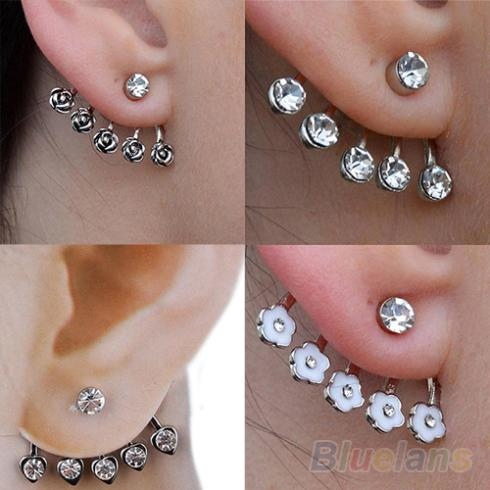 1 PC Women Hot 2014 New Silver Star Rose Flower Diamante Crystal Ear Cuff Cartilage Stud Earring 0148(China (Mainland))