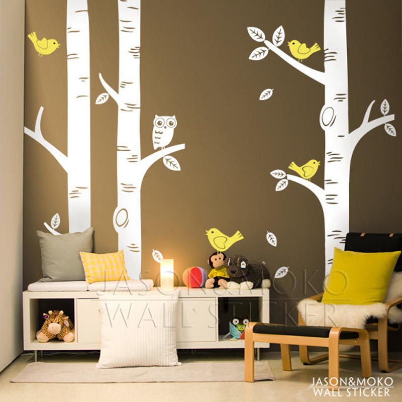 2015 cute owl birds birch tree wall sticker decal for Bird and owl tree wall mural set