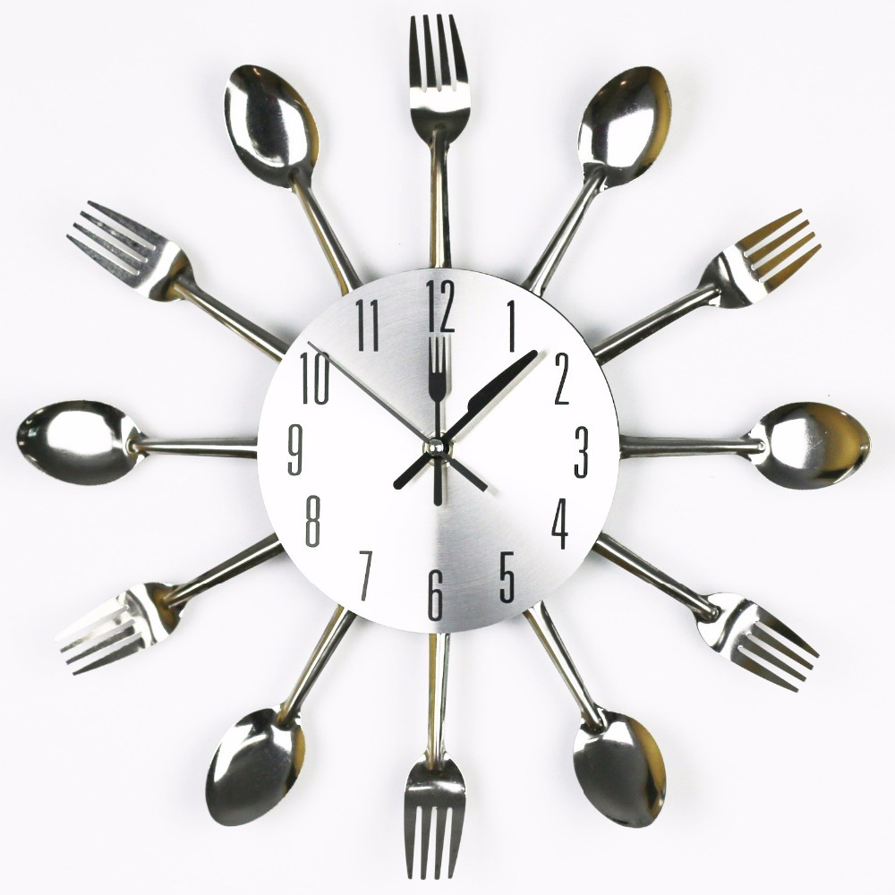 Free Shipping Mute Modern Design Sliver Cutlery Kitchen Utensil Wall Clock Spoon Fork Knife Clock Mute Sweep Quartz Movement(China (Mainland))