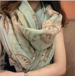 Новое поступление высокое качество горячей продажи моды длинный шифоновый шарф для женщин, девушки случайные элегантные часы шарф, HCA-SK043