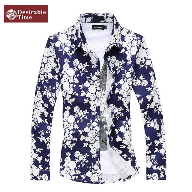 Большой размер 5XL 6XL мужские цветочный принт 2016 мода с длинным рукавом свободного ...