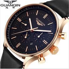 2015 Watches Men Luxury Top Brand GUANQIN Fashion Men's Quartz Watch Sport Casual Wristwatch Relogio Masculino Relojes Goldblack