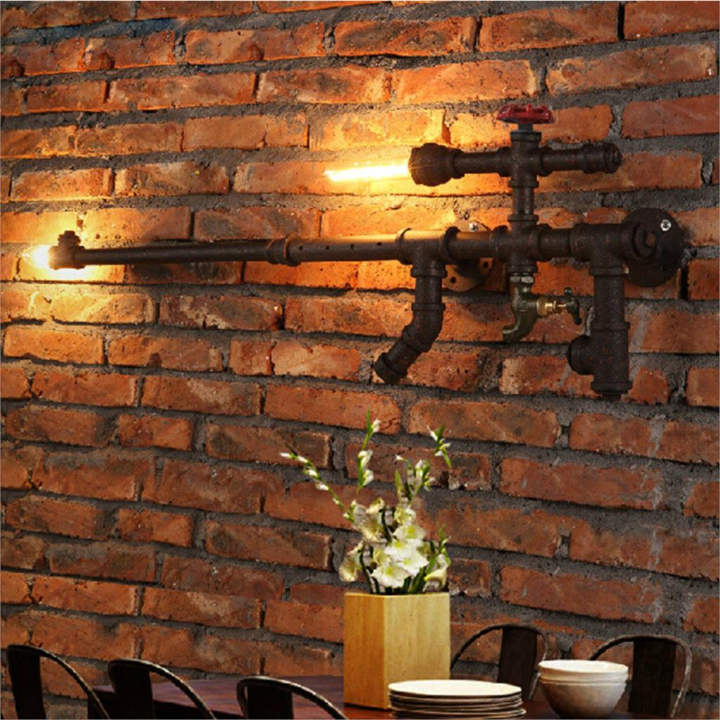 Creative Nordic Wall Lamps AK47 Gun Design Industrial Wall Lights Punk Water Pipe Wall Sconce ...