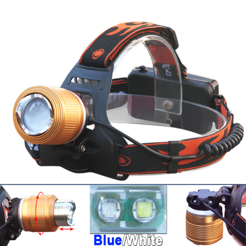 NEW ! Zoomable LED 2 CREE Q5 white blue light camping headlamp lantern fishing headlight head lamp cap torch frontal kafa lights(China (Mainland))