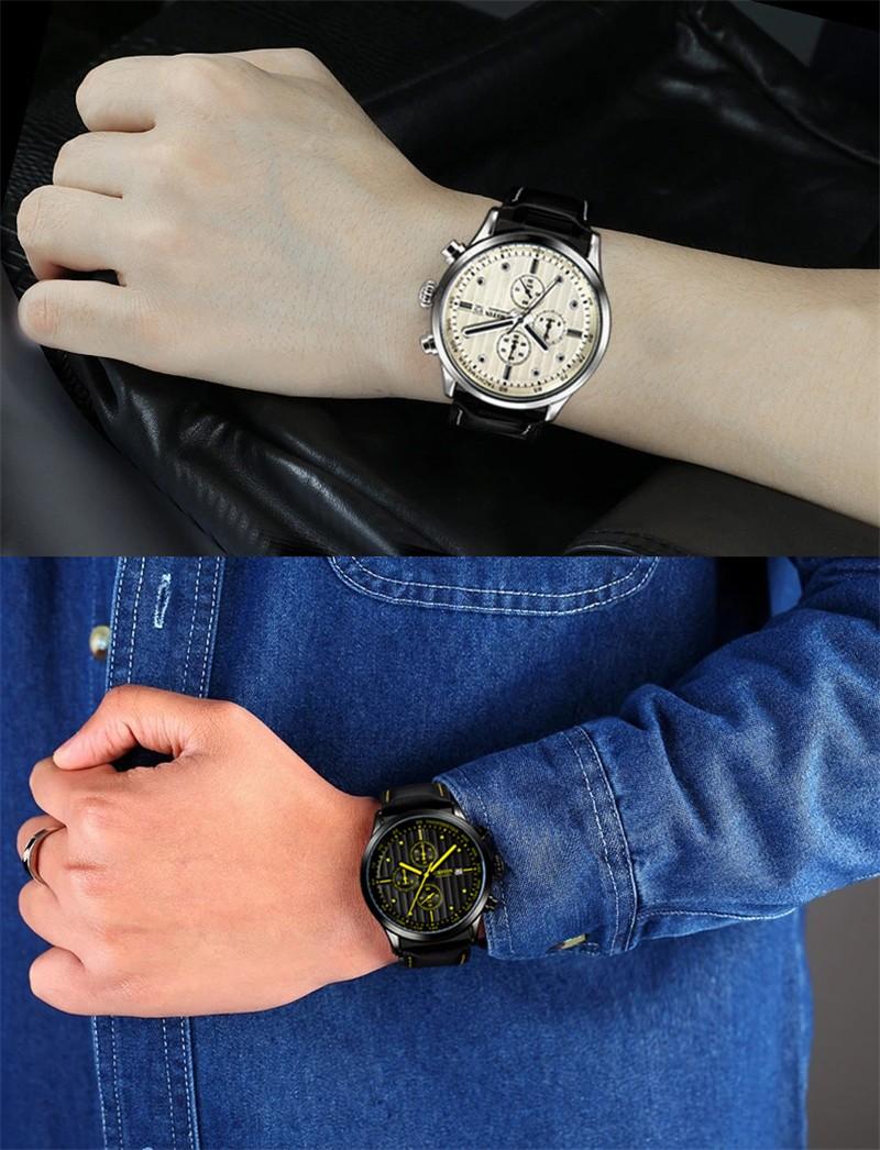Luxury Brand OCHSTIN Men Quartz Watches Genuine Leather Waterproof Casual Wrist Watches For Man Chronograph Sport Relojes Clock