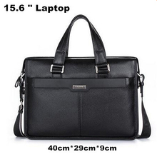 """Brand P.kuone men briefcase genuine leather business bag 14"""" leather laptop briefcase shoulder bags men's messenger travel bags(China (Mainland))"""