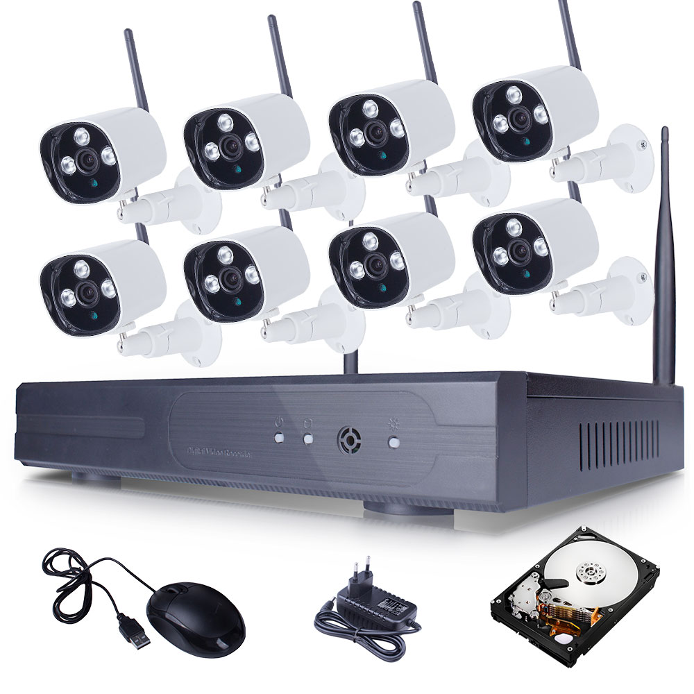 Здесь можно купить  Plug And Play 8CH CCTV System Wireless NVR 2TB HDD P2P 720P HD Infrared IR Outdoor WIFI Security IP Camera Surveillance Kit  Безопасность и защита
