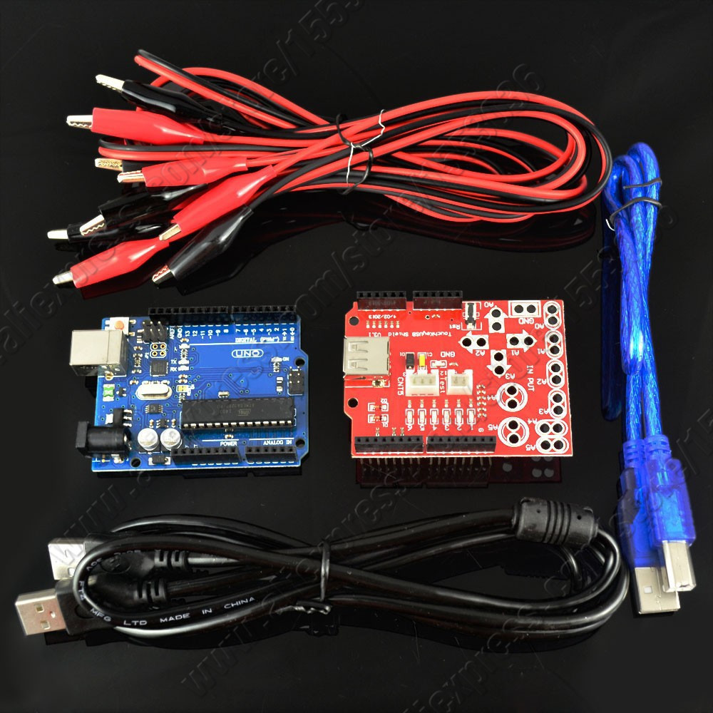 1set New Makey analog touch keyboard kit uno r3 board + key USB shield crocodile clip cable Arduino - Repair Tool store