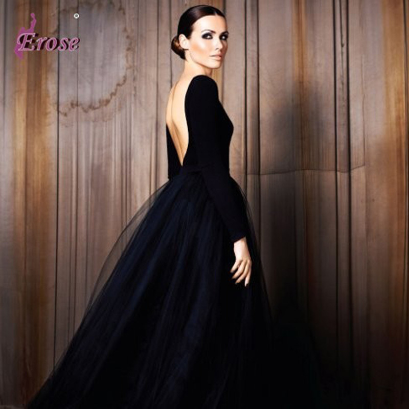 LEV 059 BLACK PUFFY TULLE OPEN BACK ELEGANT LONG SLEEVE EVENING ...