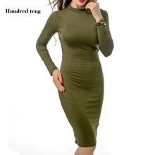 Buy Women Bodycon Dress Long Sleeve Backless Bandage Dress Sexy Club Dresses Vestidos Long sleeve Slim halter braid sexy dress