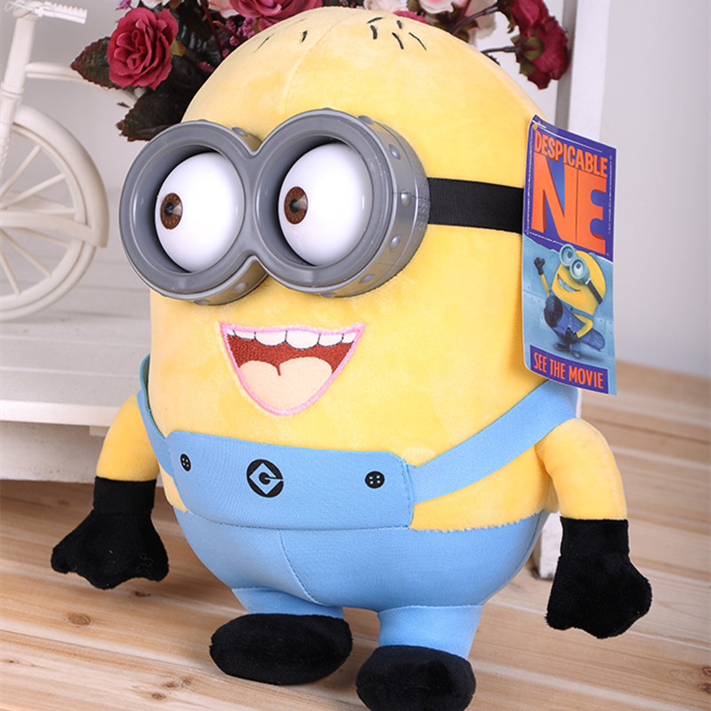 18cm minion toys despicable me Creative Minions 3D eyes yellow doll soybeans doll plush toys free shipping(China (Mainland))
