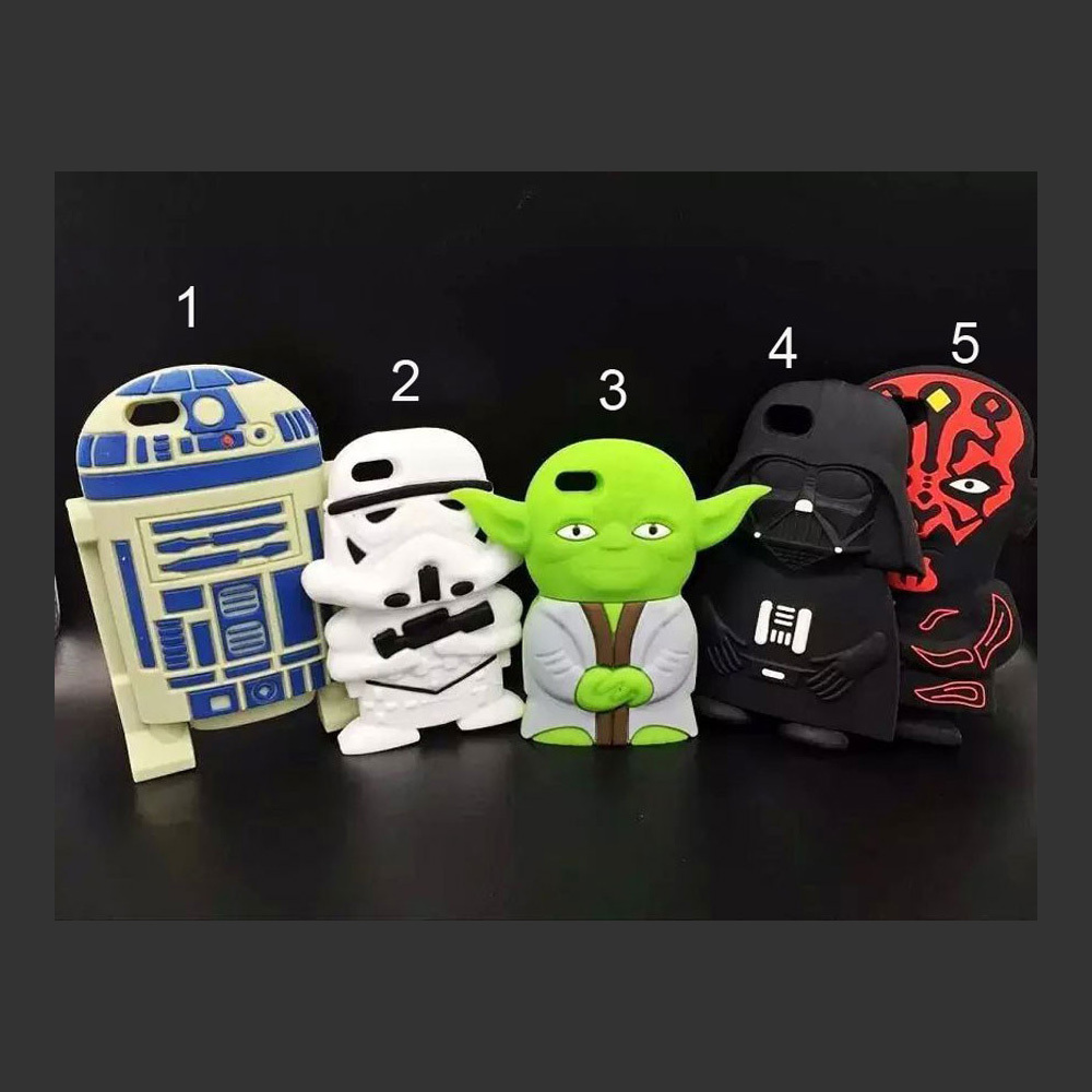 Classic Star Wars Fans Mobile Case 3D Design Soft Rubber Case Master Yoda Darth Vader R2D2 Clonetrooper Body Case for iPhone 6(China (Mainland))