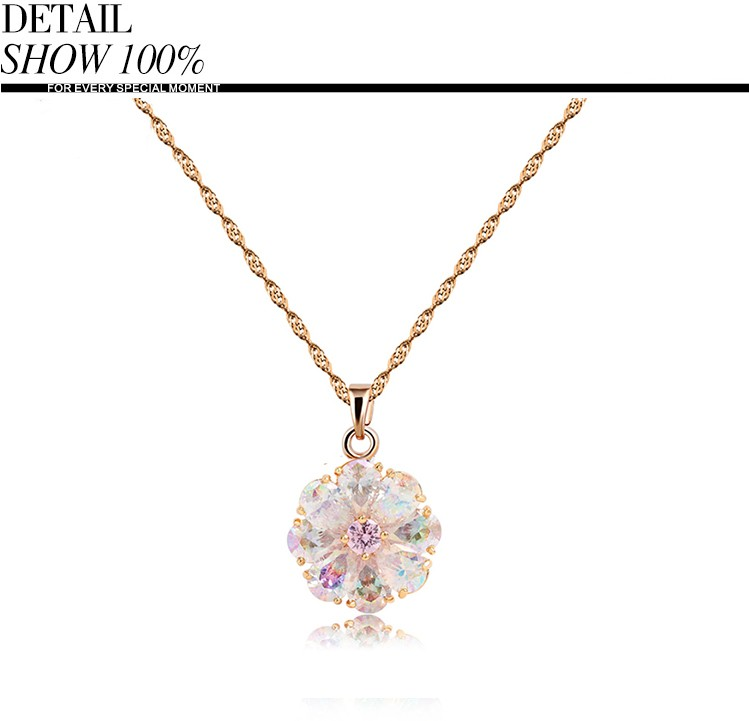 Teemi Brand New Arrival Shining Rainbow Flower Cubic Zircon Pendant Necklace for Women Girl's Jewelry Gift Champagne Gold Plated