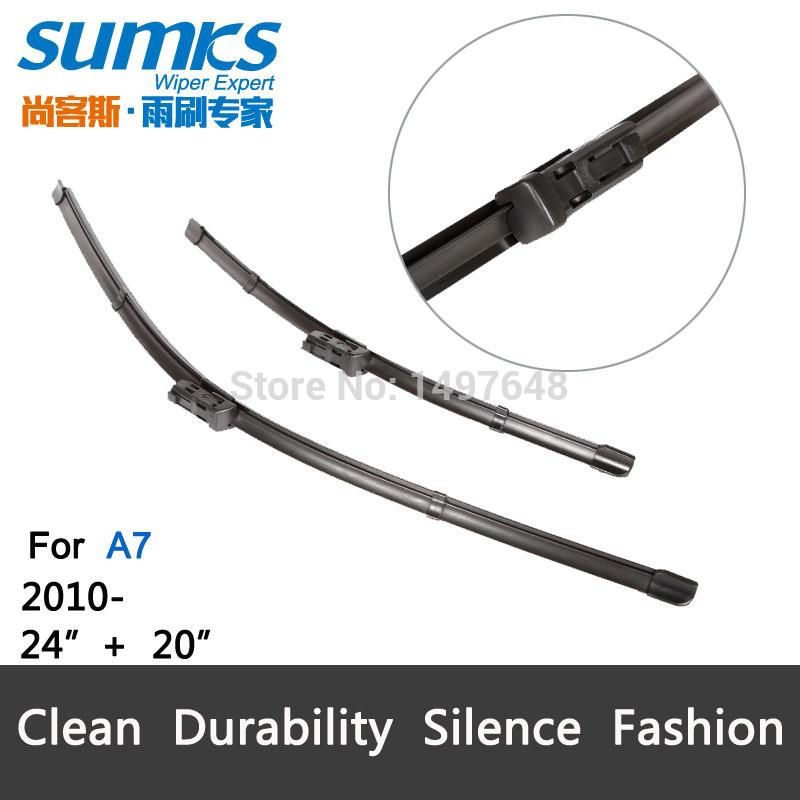 "Car wiper blade for Audi A7,24""+20"", rubber Bracketless windscreen wiper blades, wiper, blades, Car accessories, 2 pcs(China (Mainland))"