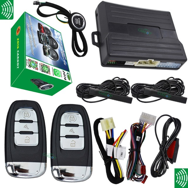 auto smart car security system with engine start stop button smart key switching function