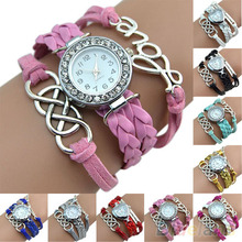 Vintage Eight Love Charm Leather Band Bracelet WristWatches  28SS