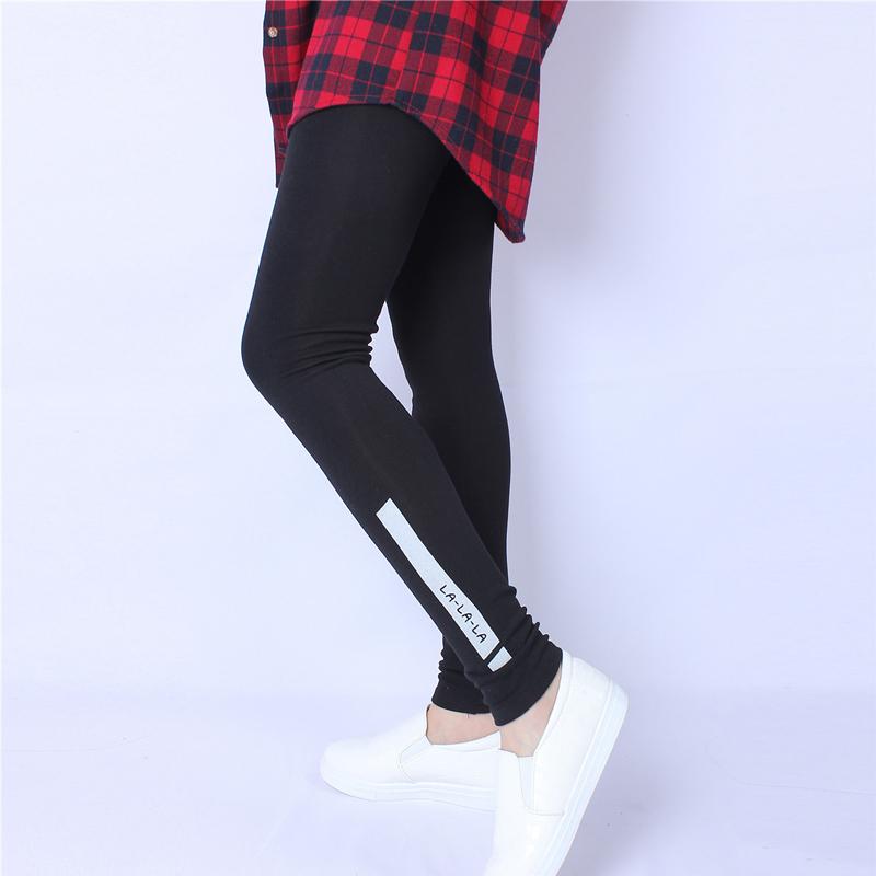 Letter Print Cotton Leggings LALALA 2017 Skinny Leggings Women Mid Waist Elastic Waist Workout Leggings Fitness Legging Black