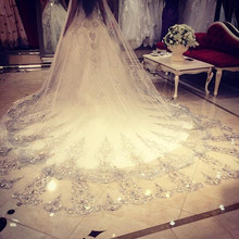 Wedding Veil 3.5 Meters Length 1.8M Width Real Image 2016 Crystals Rhinestones Lace BlingBling Cathedral Bridal Veils with Comb(China (Mainland))