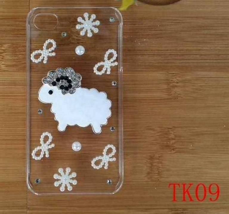 hot sell White sheep bowknot diamond flowers transparent hard plastic case cover for Samsung Galaxy Style Duos i829(China (Mainland))