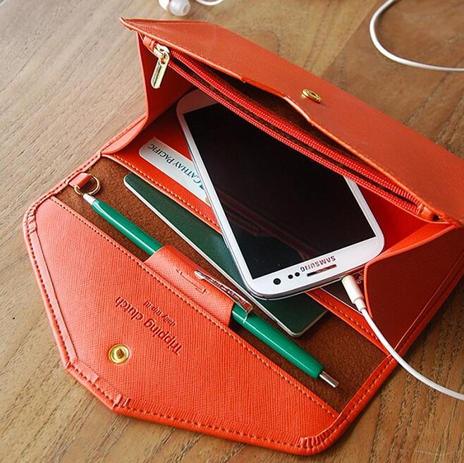 Гаджет  Women Envelope Wallets PU Leather Multifunction Travel Passport/Card/Money/Mobile Phone Organizer Female Coin Purse money bag  None Камера и Сумки