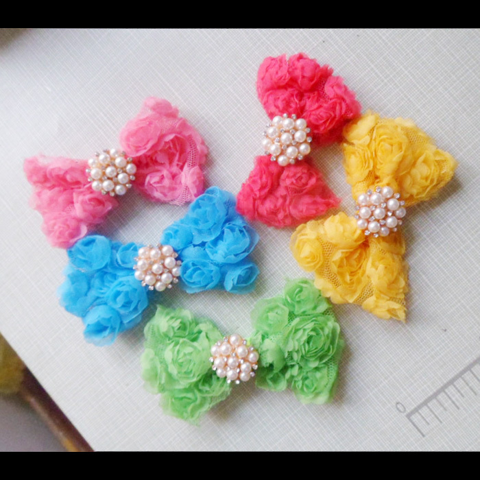 "3"" Chiffon Rose Bows Rosette Bows With Rhinestone Pearl Buttons for Baby Headband Girls Hair Accessories 50PCS/LOT Free Shipping(China (Mainland))"