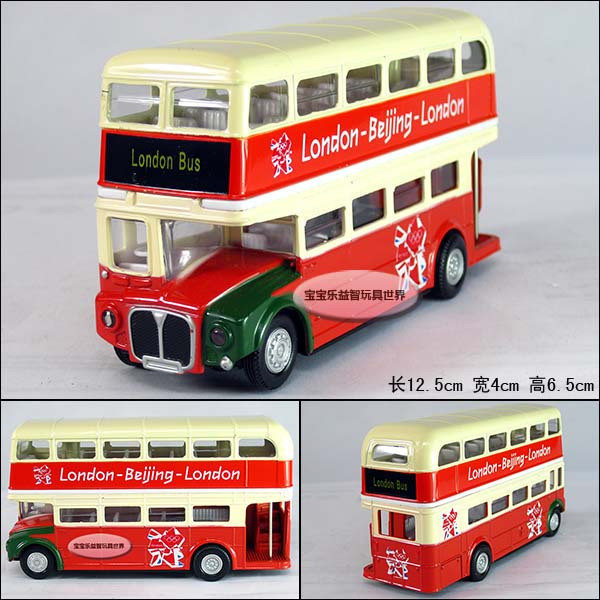 Free  shipping Double layer sightseeing bus exquisite alloy acoustooptical hongbai alloy car model