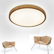 Natural color imitation wood grain led ceiling lamps single layer 30CM Alternatively AC90 265V