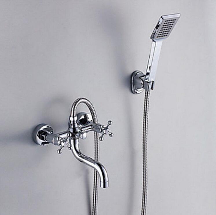Modern Bathroom Shower Set Faucet Bathtub Mixer Tap Double Handles Shower Chrome(China (Mainland))