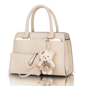 Продаж европейский и американский мода свободного покроя картины аллигатора сумки патент искусственная кожа сумка 2 сумки / комплект с медведь игрушка