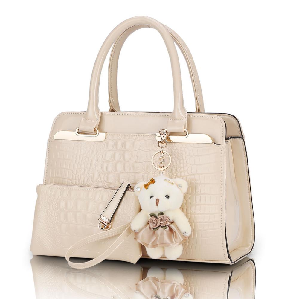 Desigual PU Patent Leather Women Shoulder Bags Elegant  Alligator Pattern Women Messenger Bags bolsos 2 bags/set w/ Bear Toy(China (Mainland))