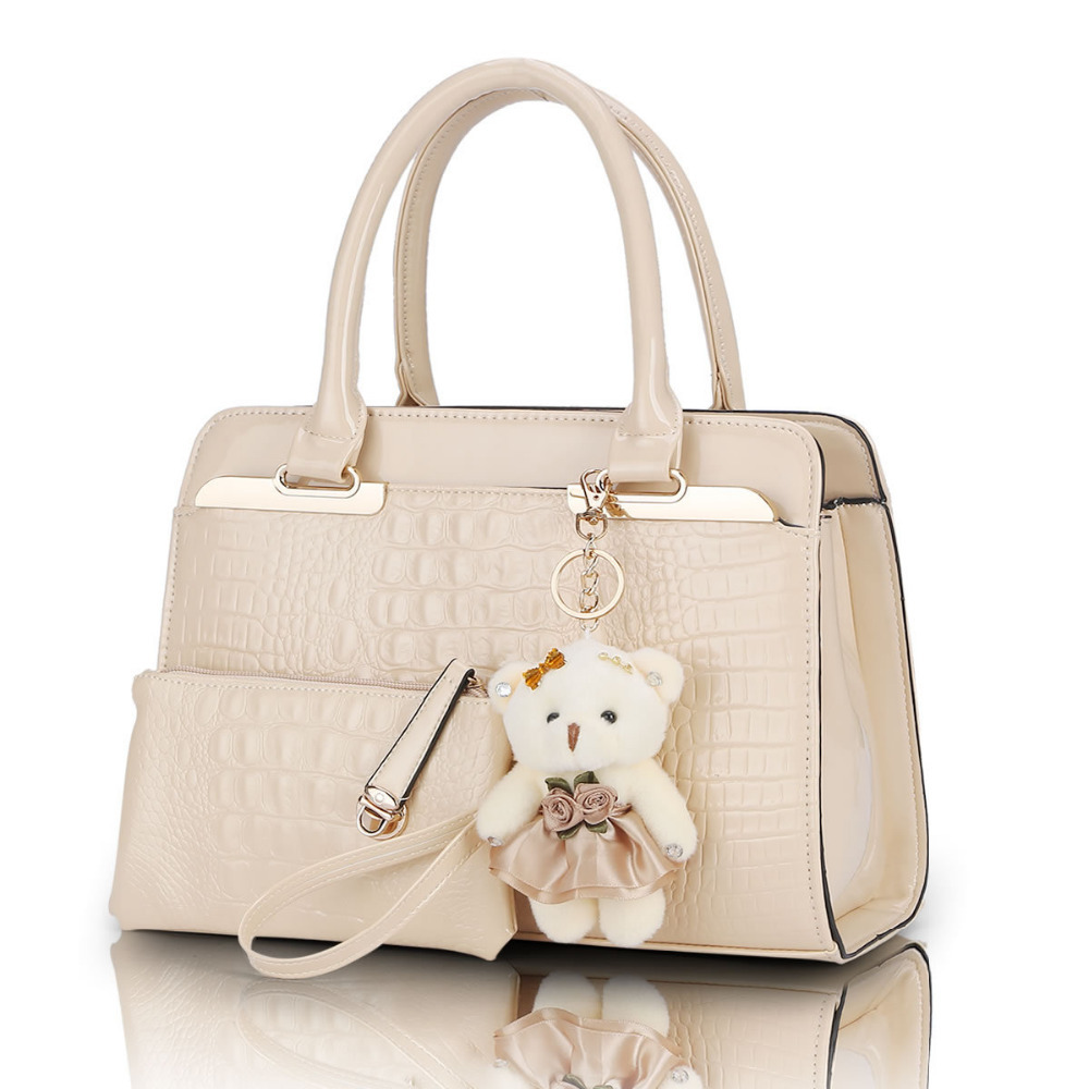 Sales European and American fashion casual alligator pattern handbag patent PU leather shoulder bag 2 bags/set with bear toy(China (Mainland))