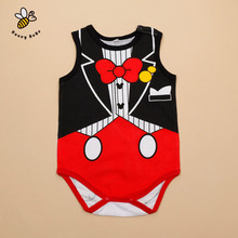 Cartoon Print Baby Rompers Baby Girl And Boy Jumpsuits Cotton Sleeveless Infant Baby Costumes Ropa De Bebe Summer Wear(China (Mainland))