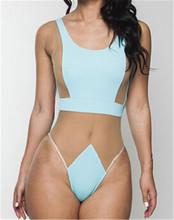 Sexy White Nude Lace Thong One Piece Swimsuit 2015 Swimwear Women High Waist Bathing Suit Bandage
