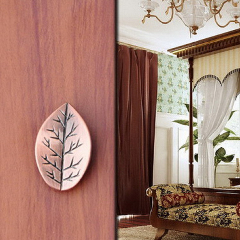 2016 New 1pc Leaf-shaped Handle with Screw Cabinet Drawer Door Kid Room Pull Knobs