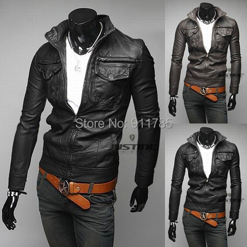 2015 Autumn branded classic PU Imitation leather jackets coats men casual slim fit washed motorcycle men, M-XXL - LANG MEI'S store